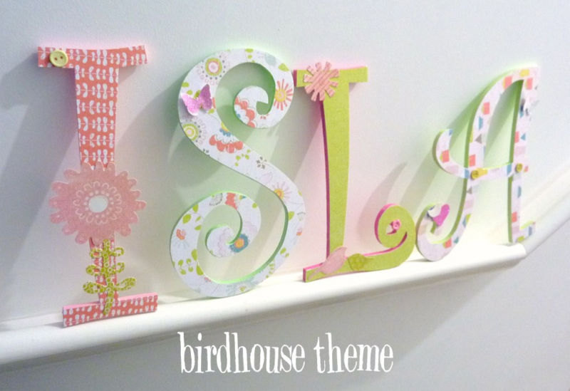 Handpainted and decorated wooden letters nursery decor for Decoration 11 letters